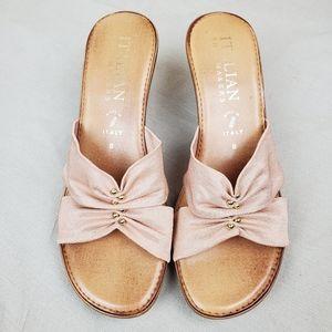 ITALIAN SHOEMAKERS Pink Tan Wedge Sandals 8